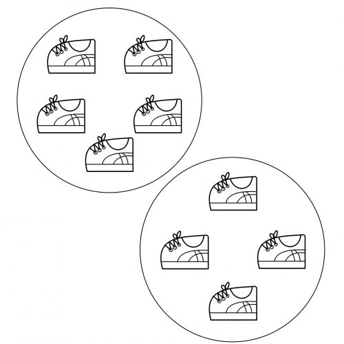 worksheet-sets-6 years-learning to count-shoes